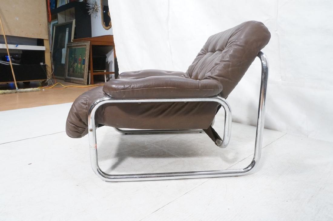 Brown Leather Chrome Frame Modernist Lounge Frame - 3