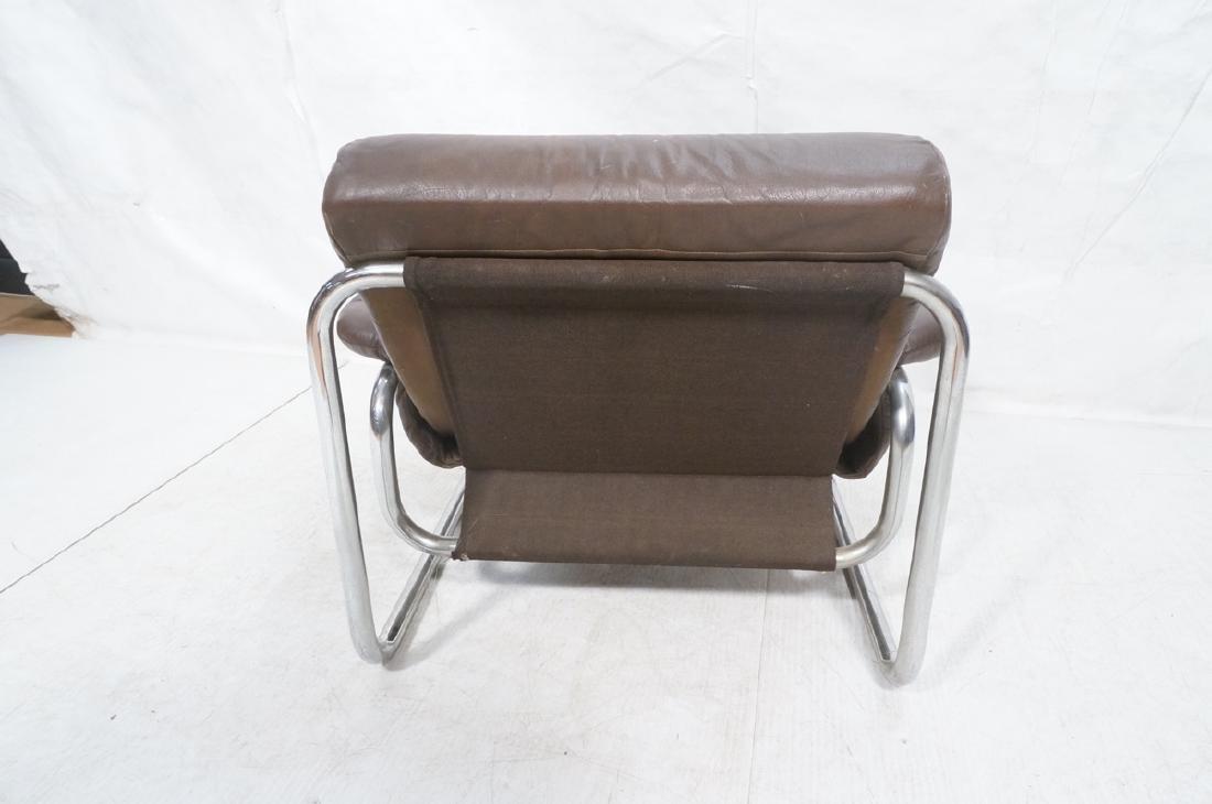 Brown Leather Chrome Frame Modernist Lounge Frame - 4