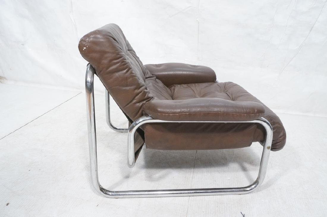 Brown Leather Chrome Frame Modernist Lounge Frame - 5