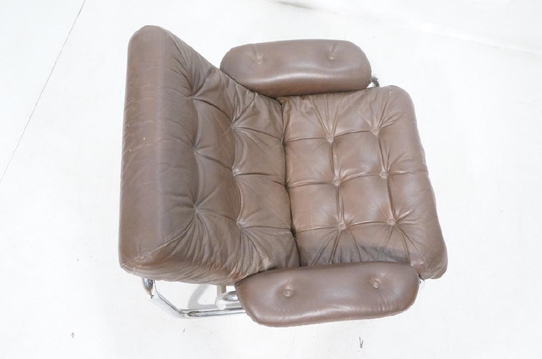 Brown Leather Chrome Frame Modernist Lounge Frame - 6