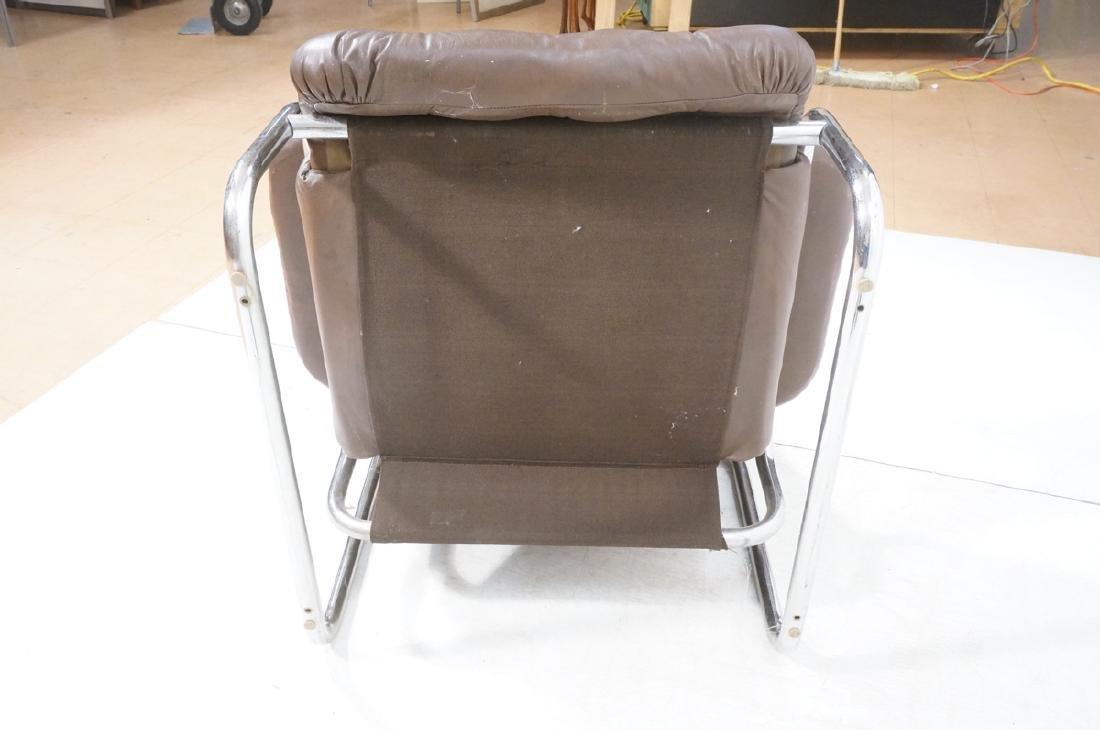 Brown Leather Chrome Frame Modernist Lounge Frame - 7
