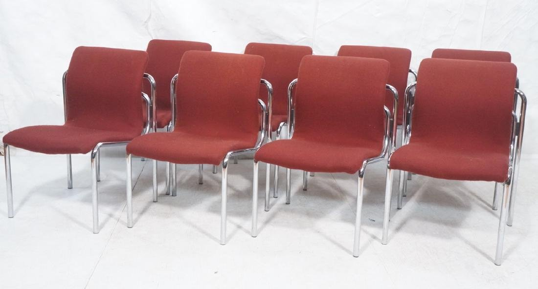 8 HOWE Chrome Tube Side Chairs. Burgundy fabric s