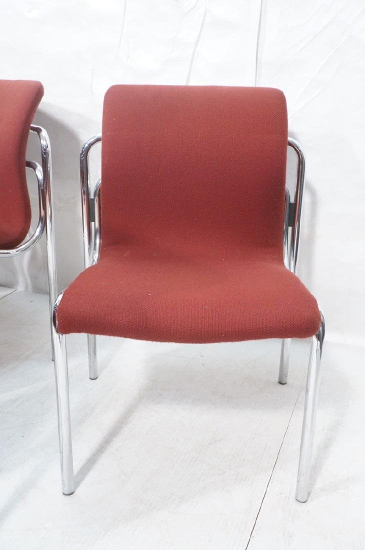 8 HOWE Chrome Tube Side Chairs. Burgundy fabric s - 2