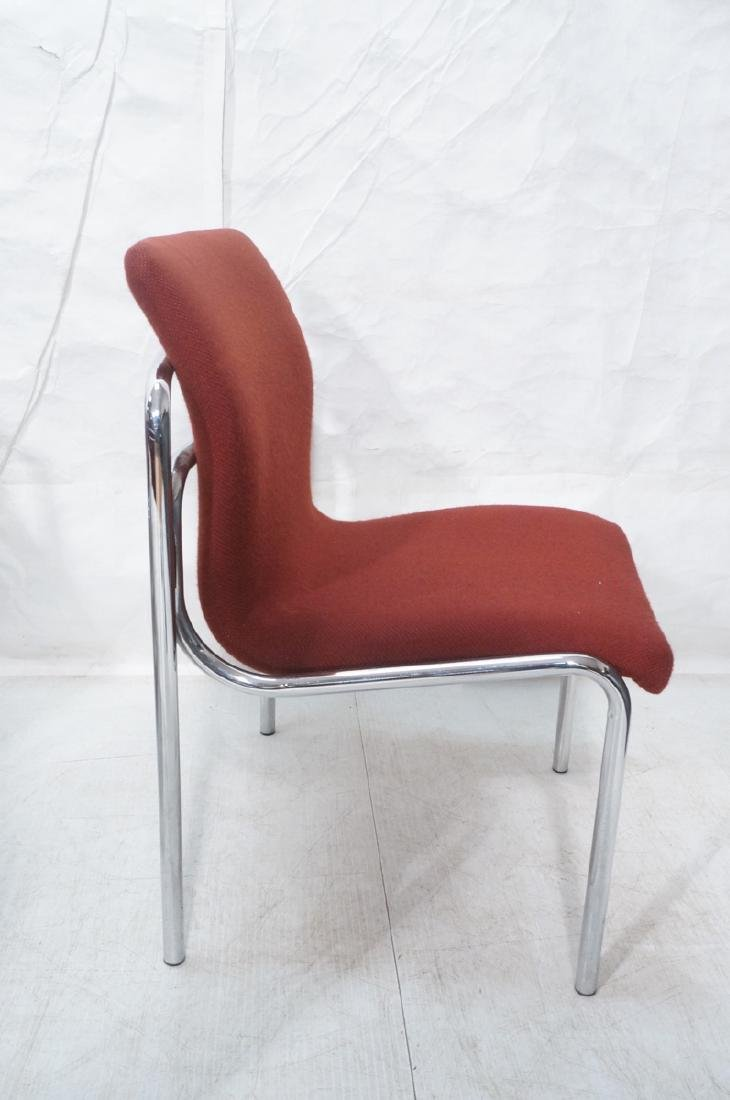 8 HOWE Chrome Tube Side Chairs. Burgundy fabric s - 3