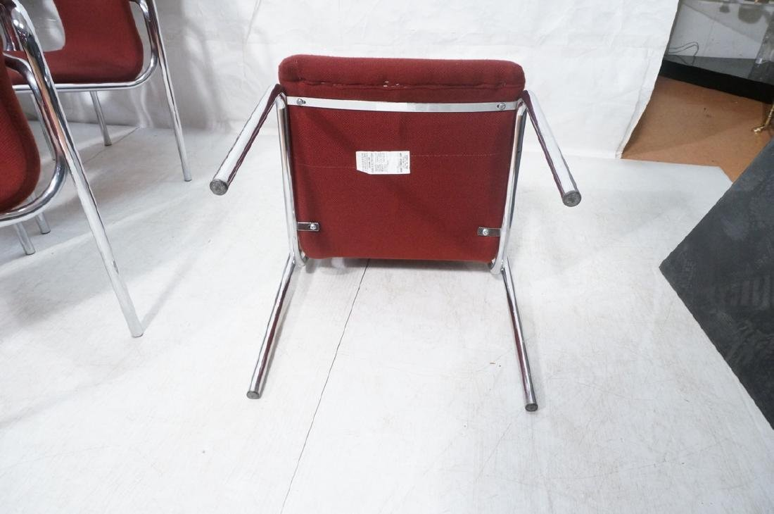 8 HOWE Chrome Tube Side Chairs. Burgundy fabric s - 7