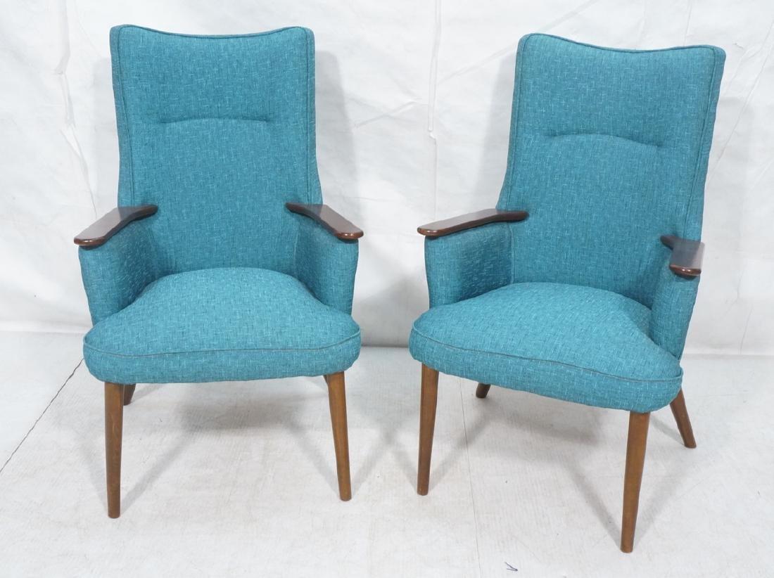 Pr Modernist Dark Wood Arm Lounge Chairs ADRIAN P
