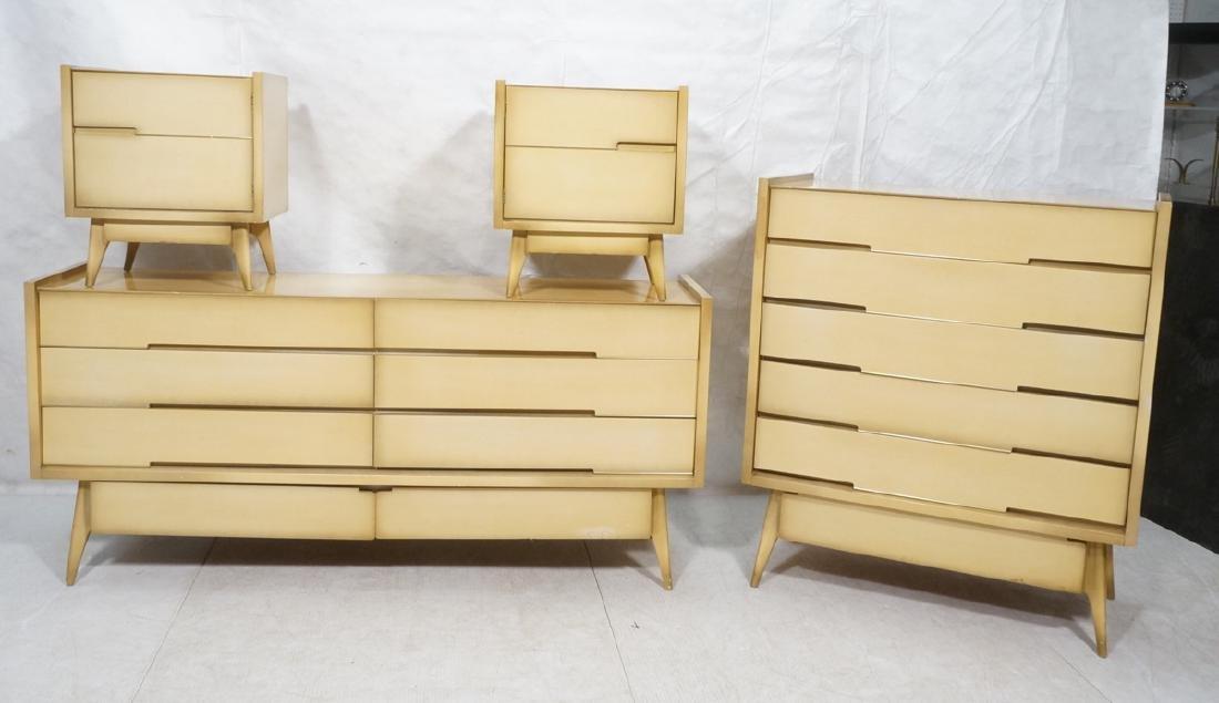 4pc Blond Mahogany Italian Style Bedroom Set. 2 n