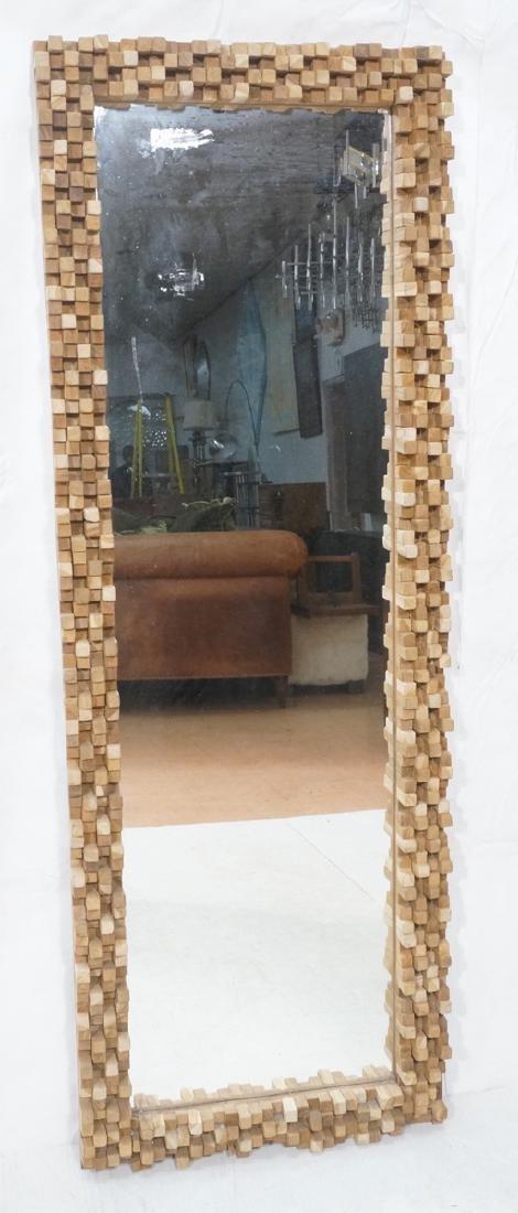 Handmade Modernist Sculptural Wood Mirror. Square