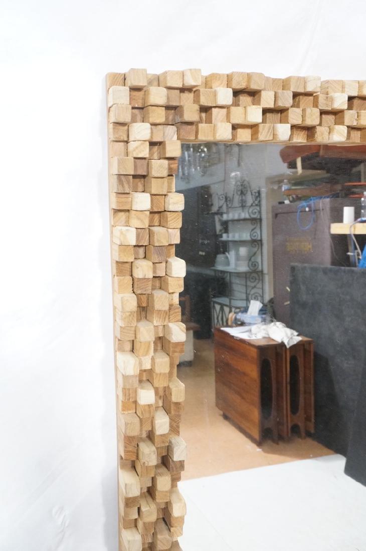 Handmade Modernist Sculptural Wood Mirror. Square - 2