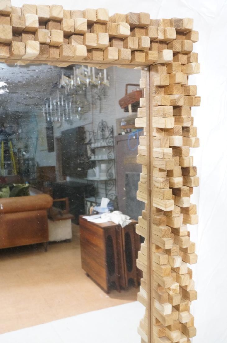 Handmade Modernist Sculptural Wood Mirror. Square - 3