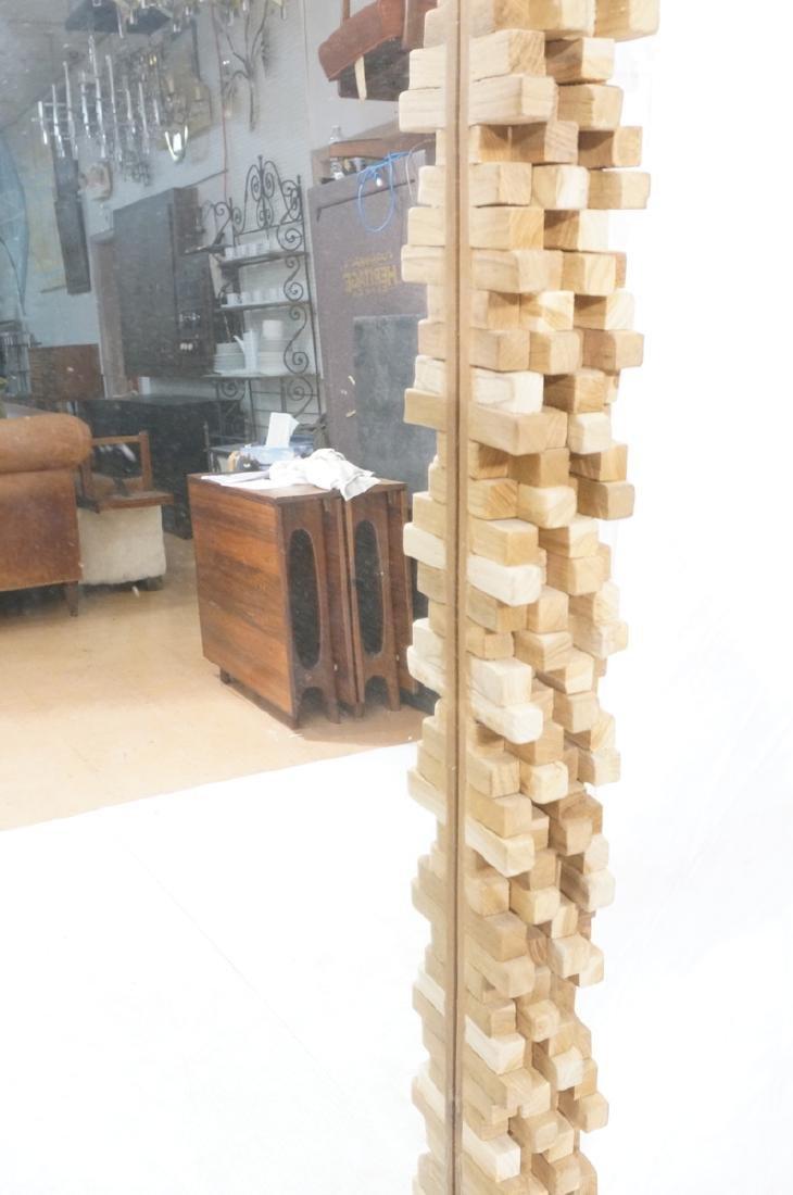Handmade Modernist Sculptural Wood Mirror. Square - 4