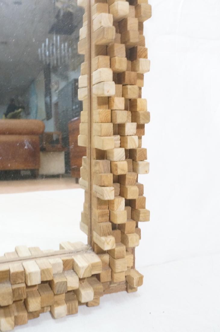 Handmade Modernist Sculptural Wood Mirror. Square - 5