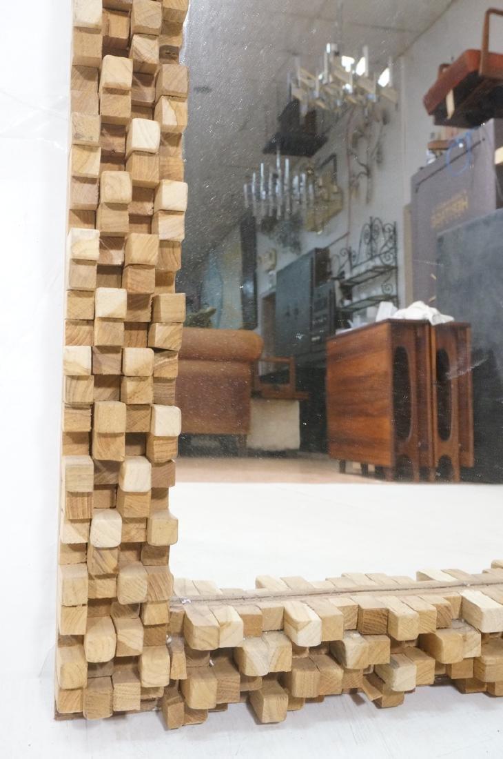 Handmade Modernist Sculptural Wood Mirror. Square - 6