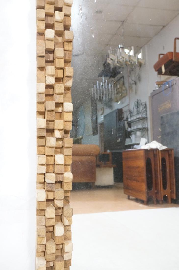 Handmade Modernist Sculptural Wood Mirror. Square - 7
