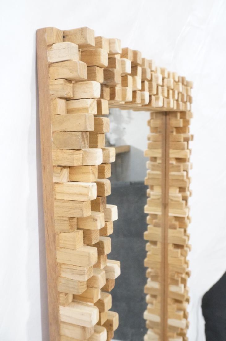Handmade Modernist Sculptural Wood Mirror. Square - 8