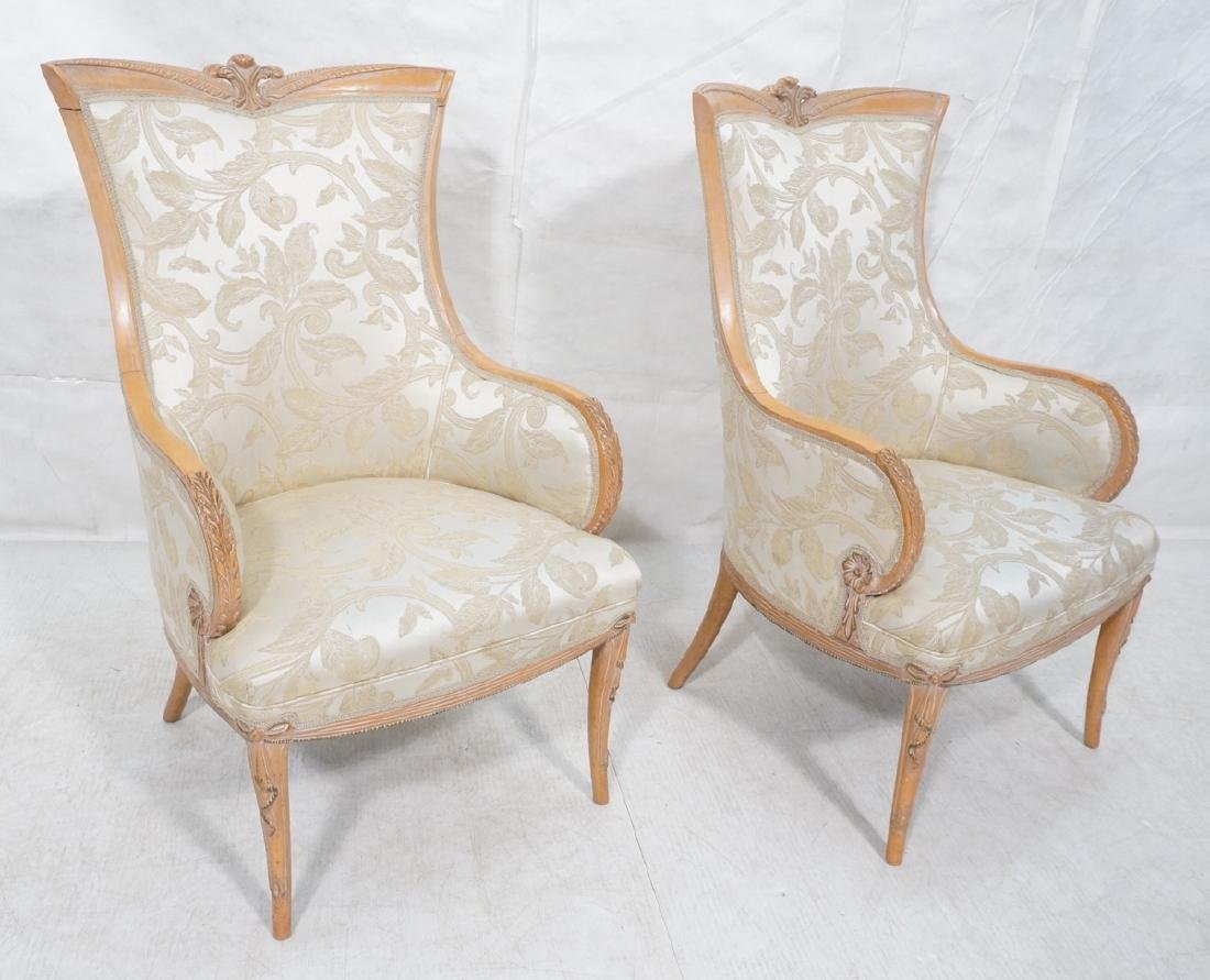 Pr Carved Wood French Style Wing Chairs. Painted