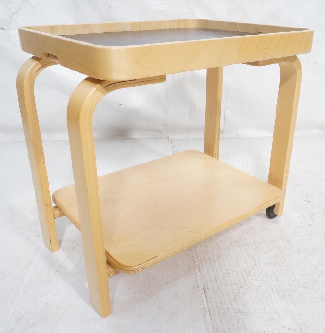 ALVAR AALTO Style Laminated Wood Rolling Cart. Tr
