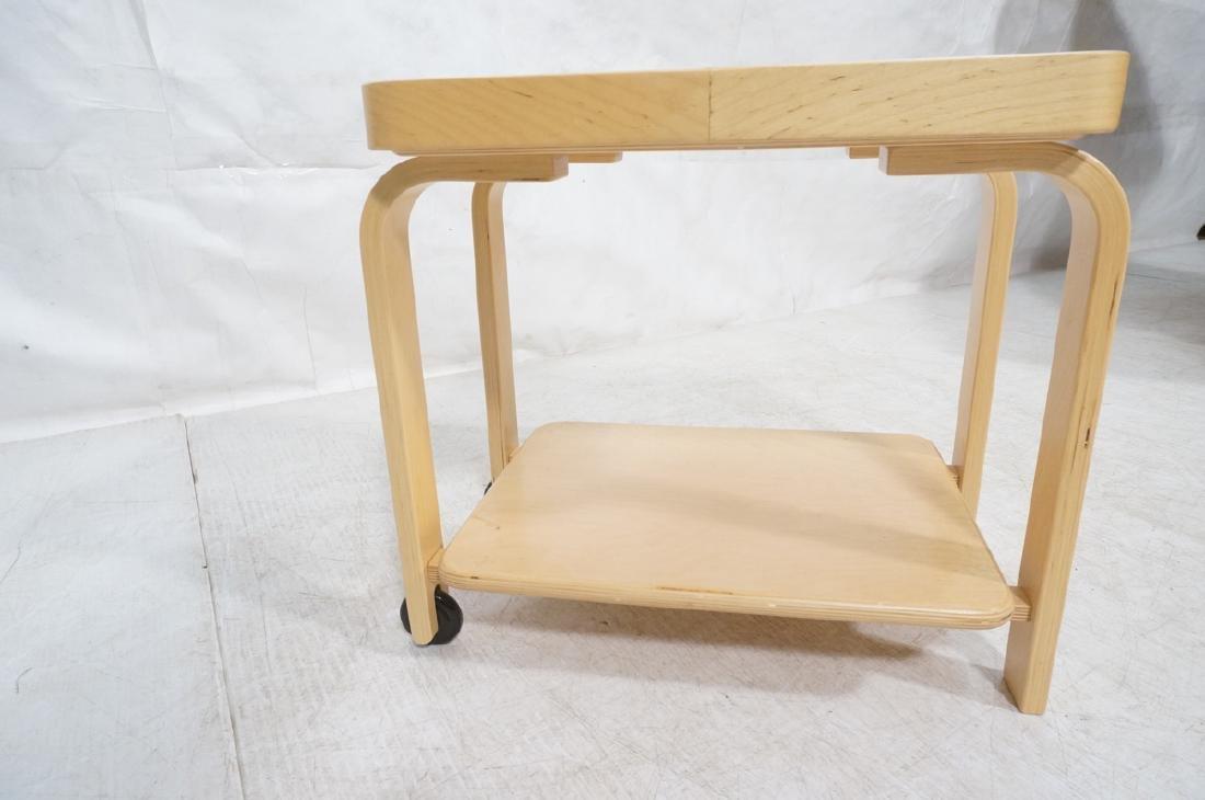 ALVAR AALTO Style Laminated Wood Rolling Cart. Tr - 4