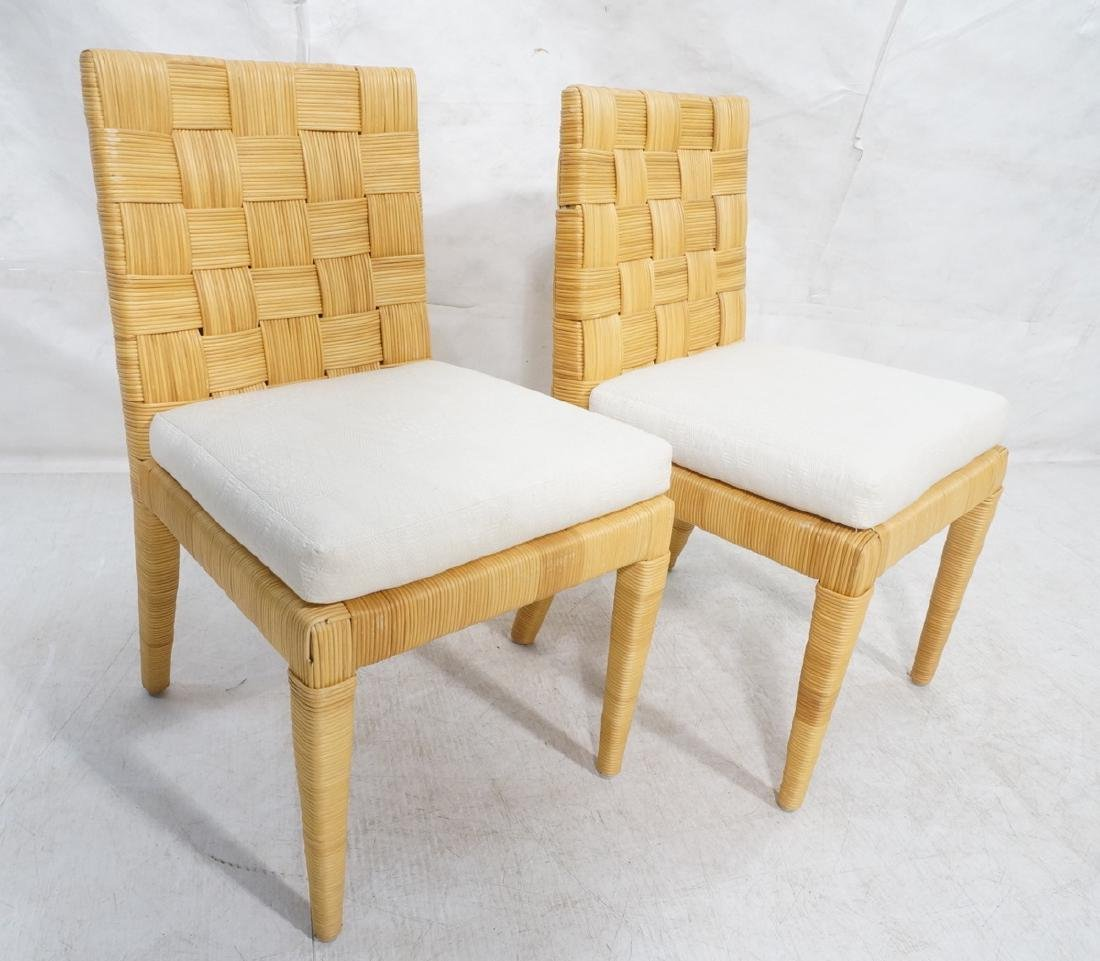 Pr DONGHIA Woven Rattan Modern Side Dining Chairs