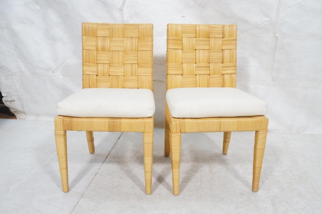 Pr DONGHIA Woven Rattan Modern Side Dining Chairs - 2