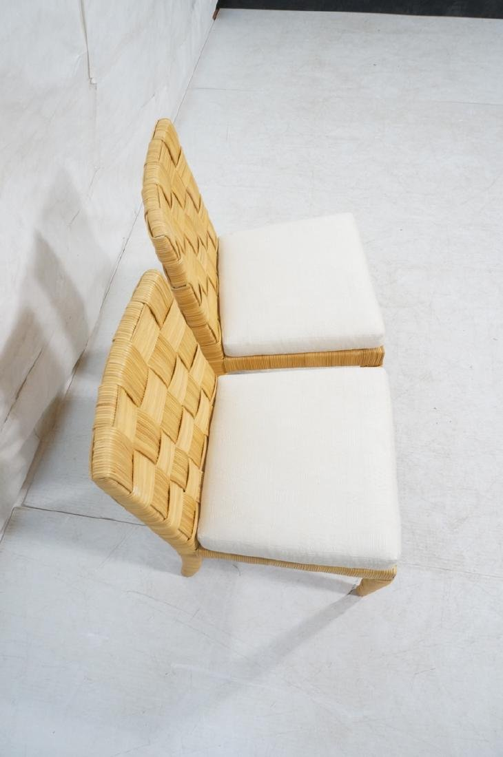 Pr DONGHIA Woven Rattan Modern Side Dining Chairs - 4