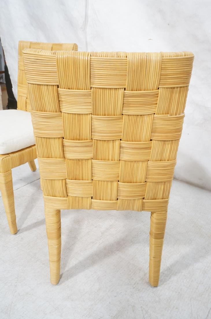 Pr DONGHIA Woven Rattan Modern Side Dining Chairs - 6