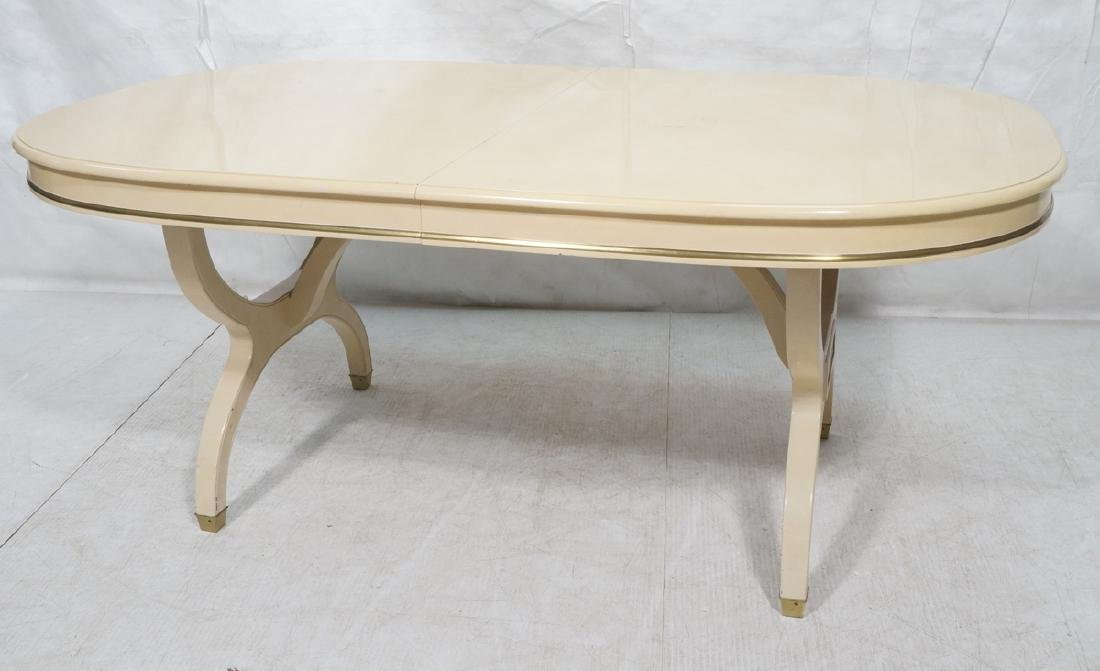 Champagne Lacquered Oval Modernist Dining Table.