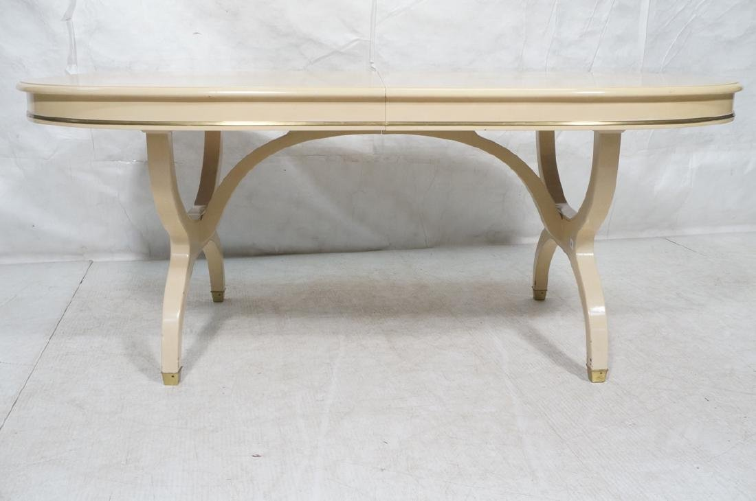 Champagne Lacquered Oval Modernist Dining Table. - 2