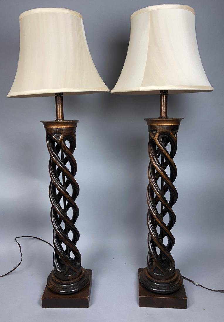 Pr Twisted Column Wood Table Lamps. James Mont Ca