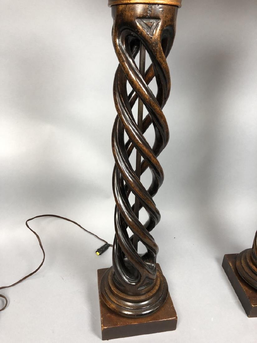 Pr Twisted Column Wood Table Lamps. James Mont Ca - 2