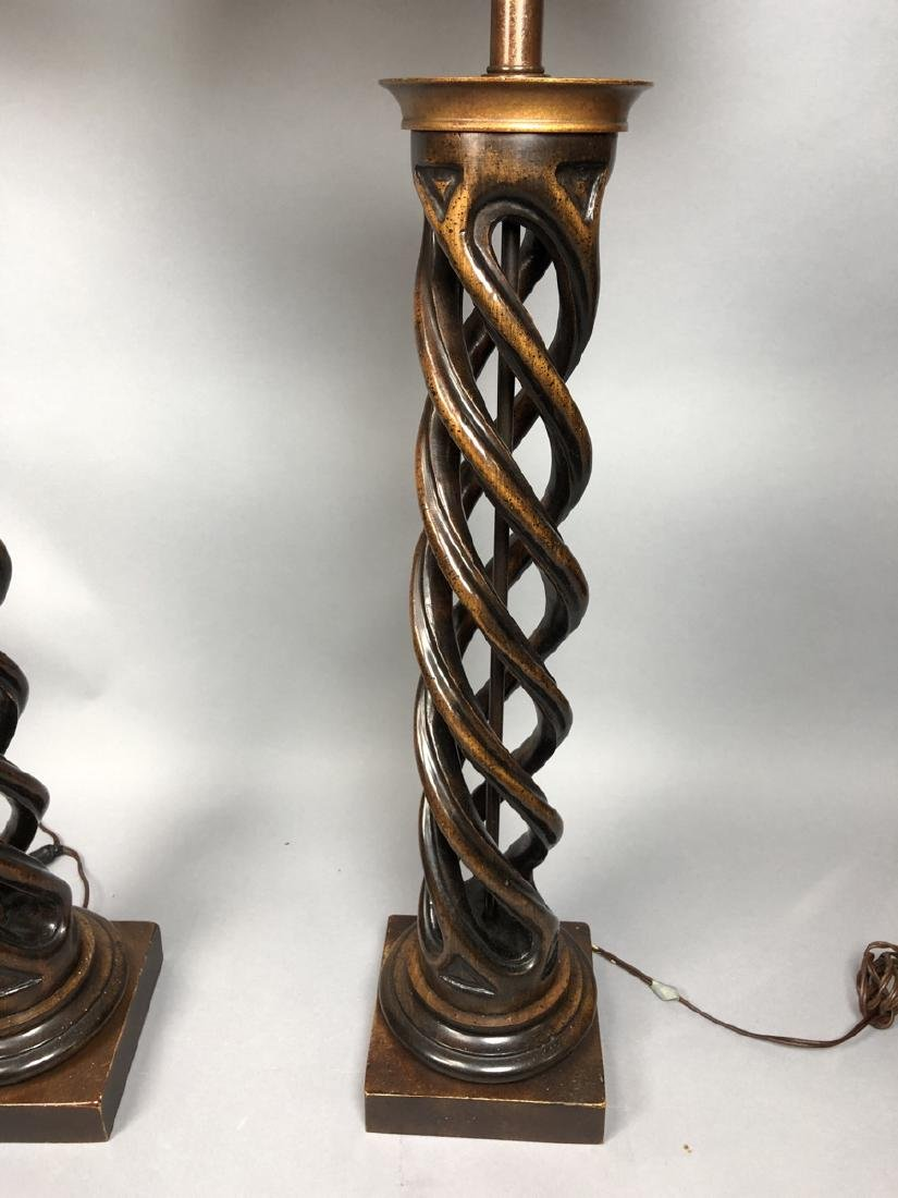 Pr Twisted Column Wood Table Lamps. James Mont Ca - 3