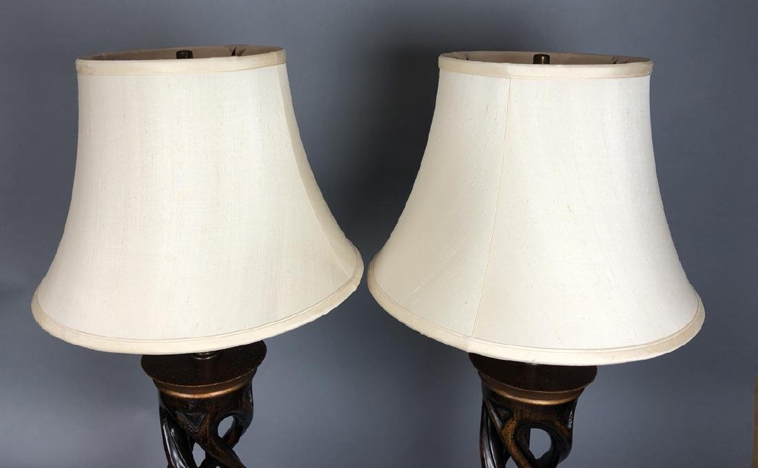 Pr Twisted Column Wood Table Lamps. James Mont Ca - 8