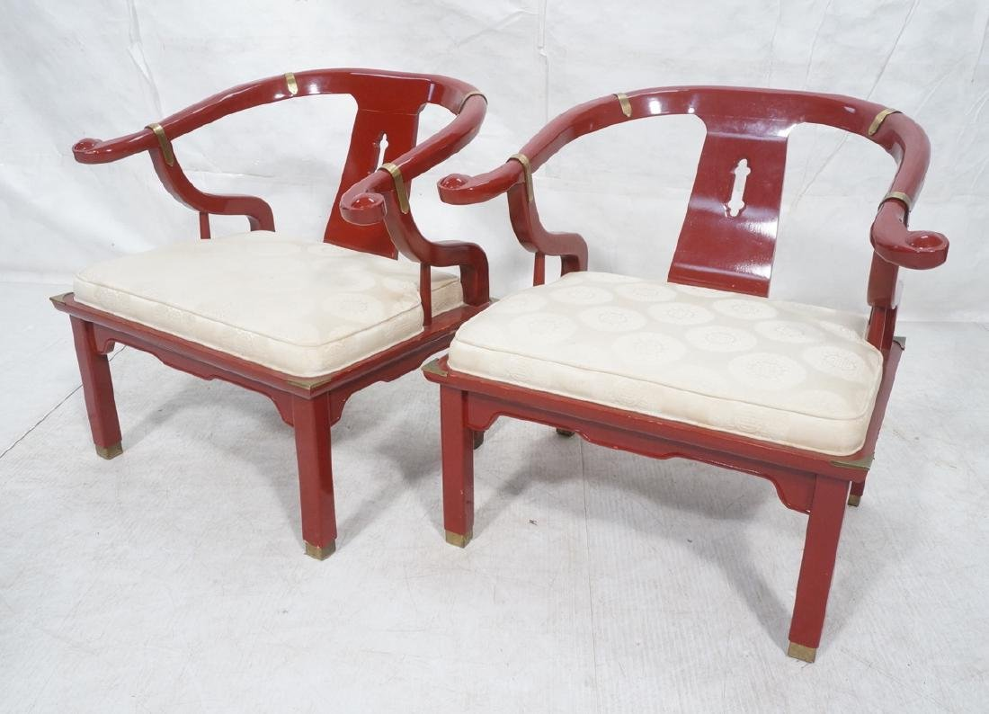 Pr CENTURY Lacquered Asian Style Lounge Chairs. H