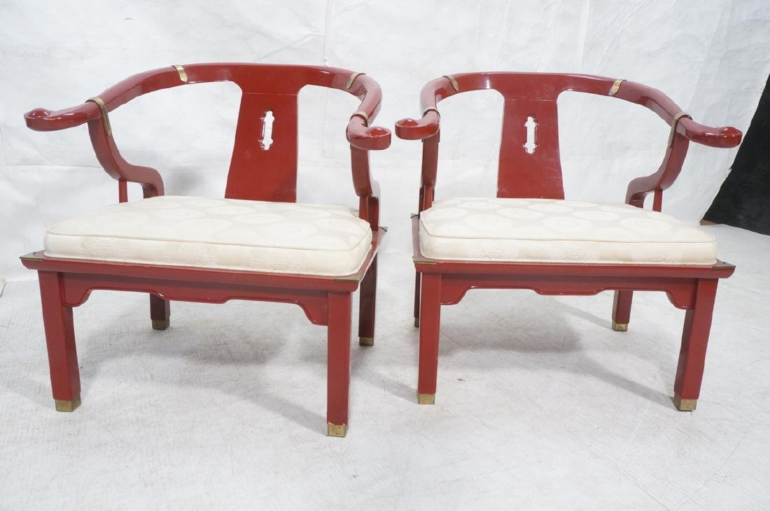 Pr CENTURY Lacquered Asian Style Lounge Chairs. H - 5