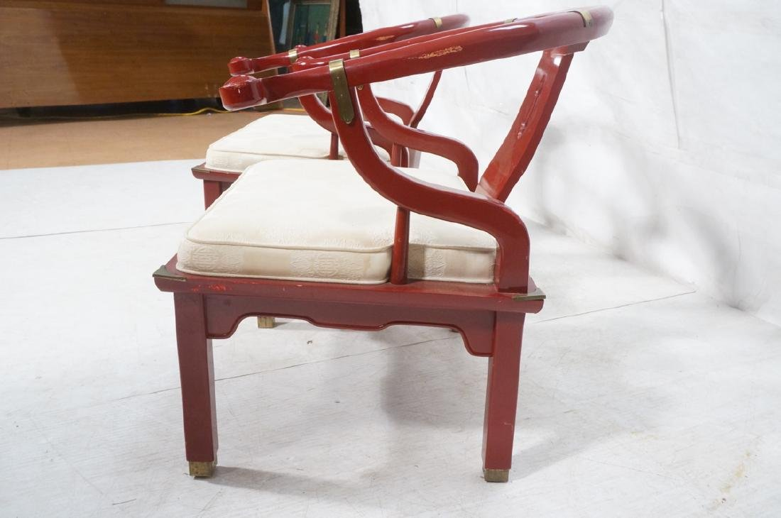 Pr CENTURY Lacquered Asian Style Lounge Chairs. H - 7