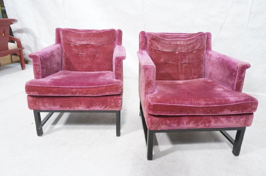 Pr Dunbar Ebonized Modernist Lounge Chairs. - 2