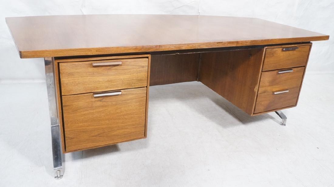 Lg Oversized Walnut Modernist Desk. Curved back a