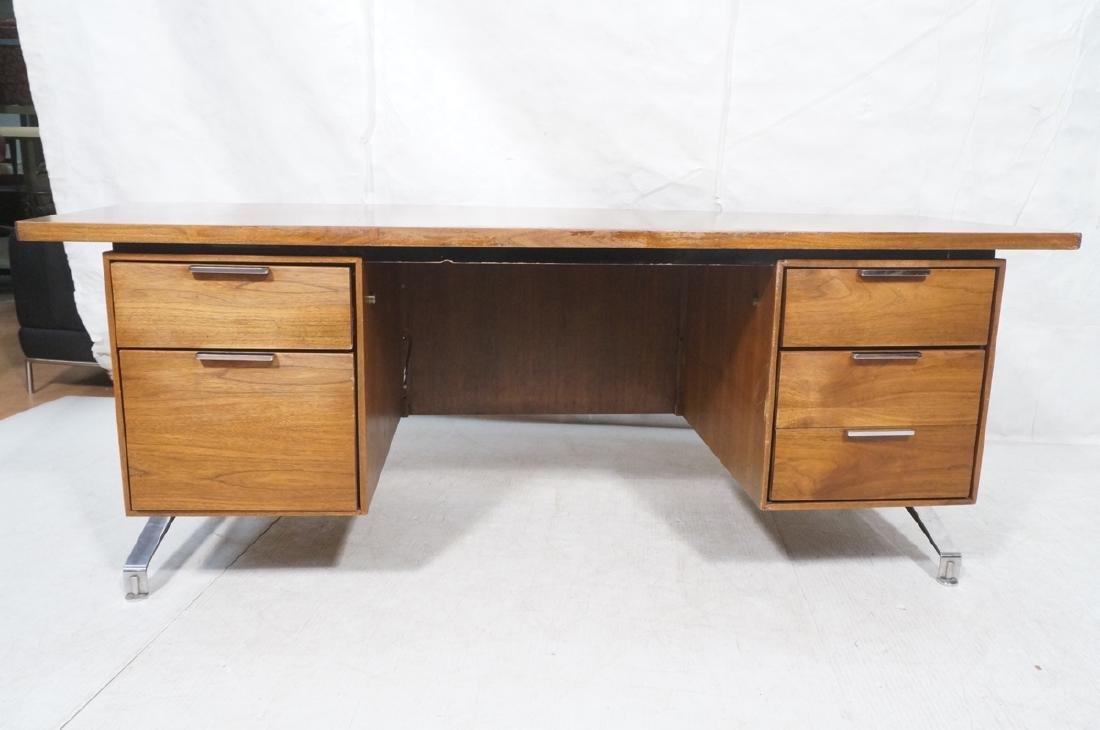 Lg Oversized Walnut Modernist Desk. Curved back a - 2