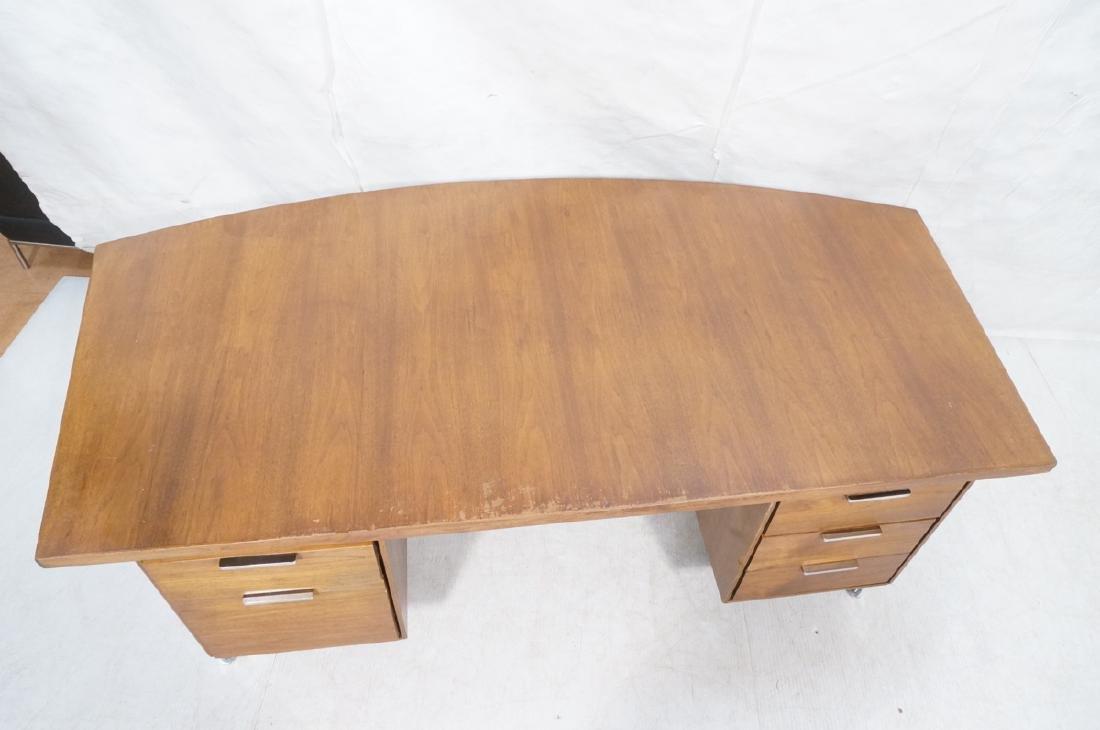 Lg Oversized Walnut Modernist Desk. Curved back a - 3