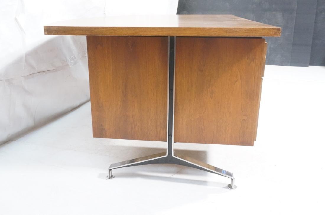 Lg Oversized Walnut Modernist Desk. Curved back a - 4