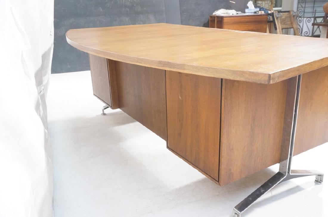 Lg Oversized Walnut Modernist Desk. Curved back a - 5