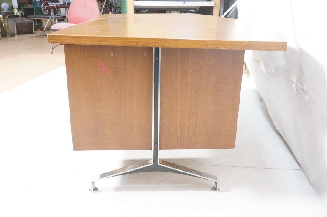Lg Oversized Walnut Modernist Desk. Curved back a - 6