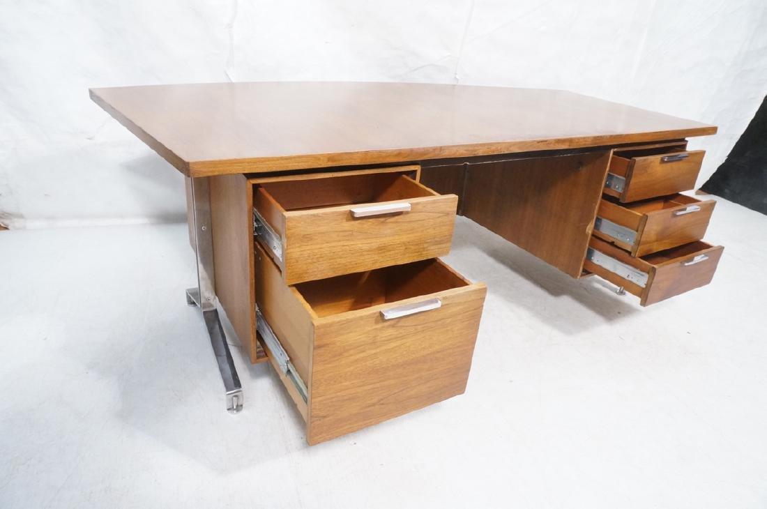 Lg Oversized Walnut Modernist Desk. Curved back a - 7