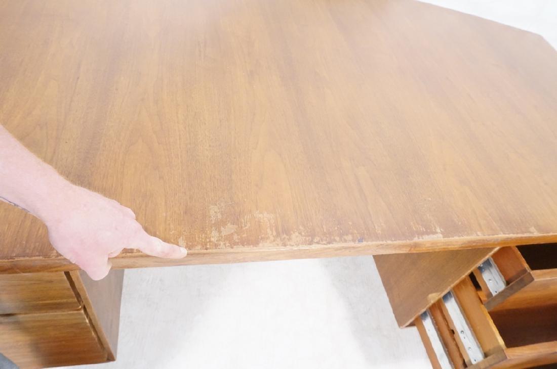 Lg Oversized Walnut Modernist Desk. Curved back a - 8