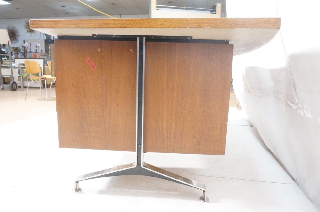Lg Oversized Walnut Modernist Desk. Curved back a - 9