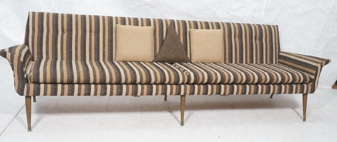 Striped Fabric Modernist Sofa Couch. Flared arms