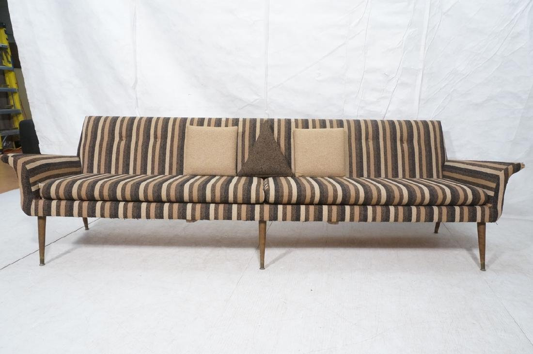 Striped Fabric Modernist Sofa Couch. Flared arms - 2