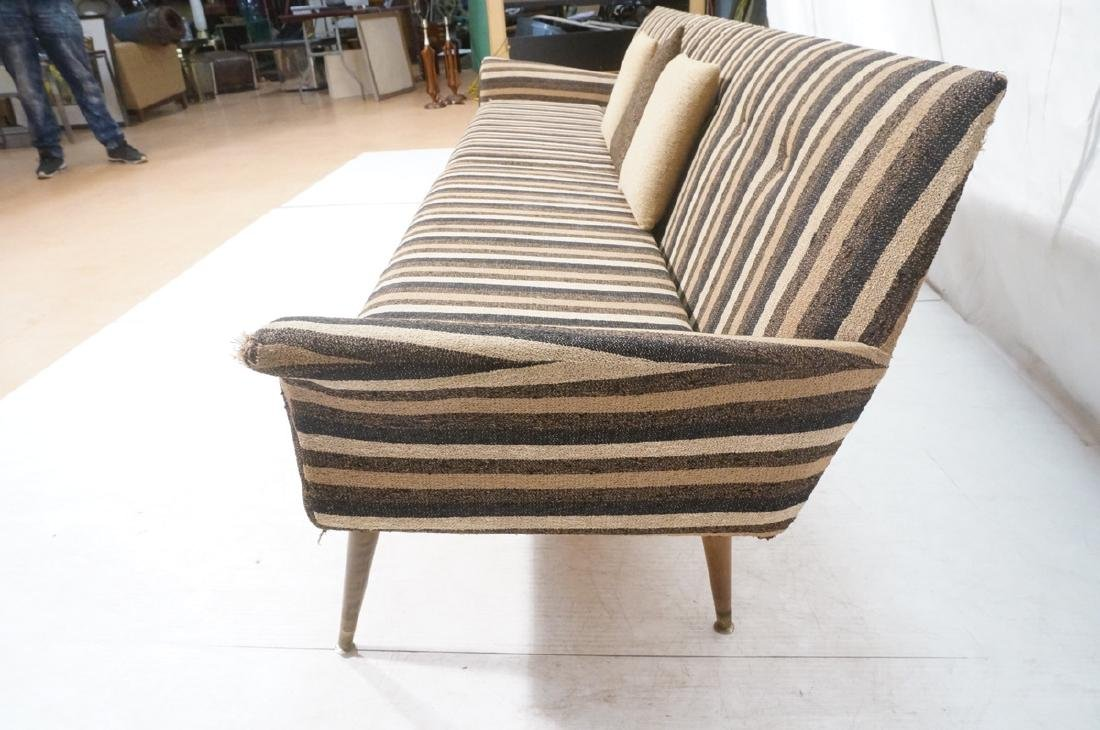 Striped Fabric Modernist Sofa Couch. Flared arms - 5