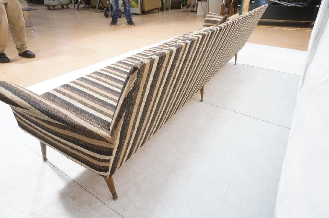 Striped Fabric Modernist Sofa Couch. Flared arms - 6