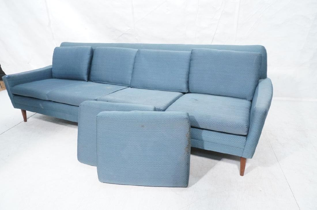 DUX Modern Blue Sofa Couch. Tapered peg legs. Unm - 11